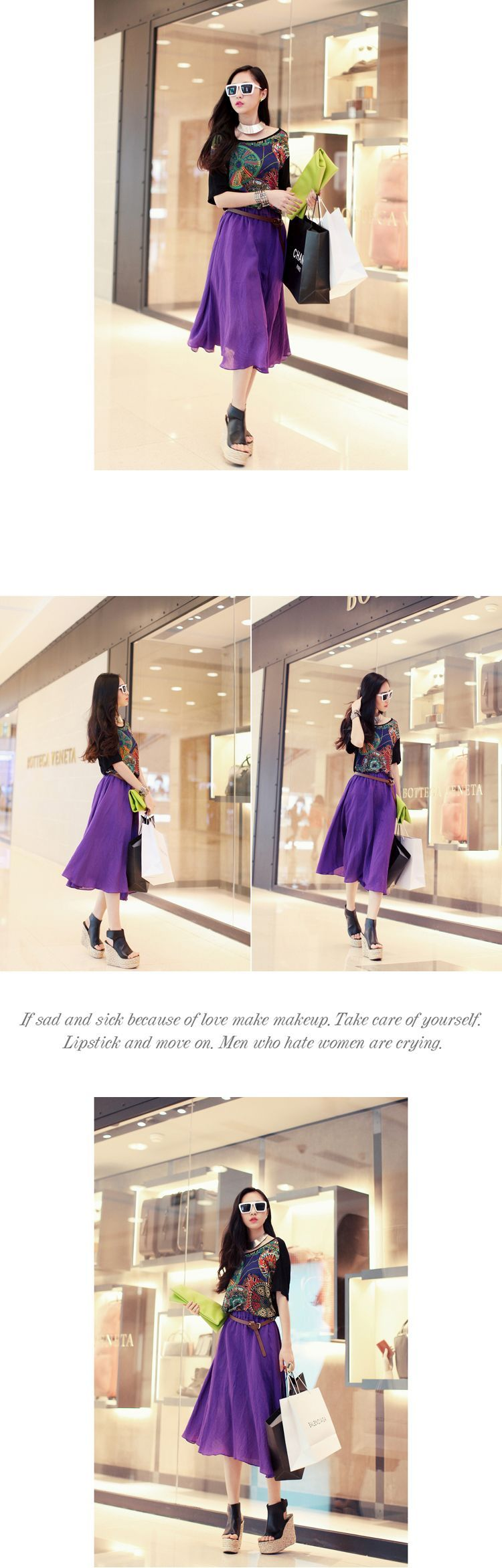 DRESS WANITA KOREA - ROK CHIFFON