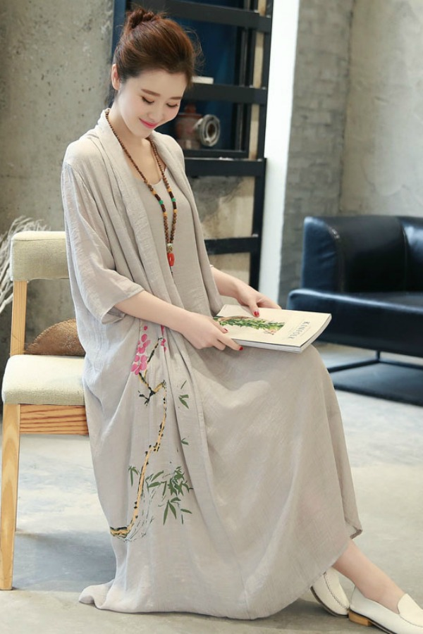 Long Dress Wanita Korea Gray Summer Korean Maxi Dress