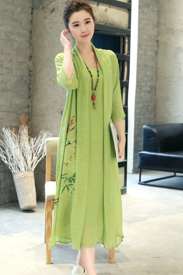 Long Dress Wanita Korea Green Summer Korean Maxi Dress