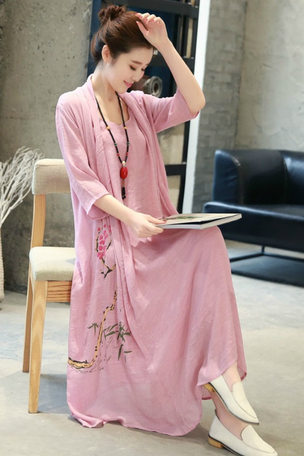 Long Dress Wanita Korea Rose Summer Korean Maxi Dress