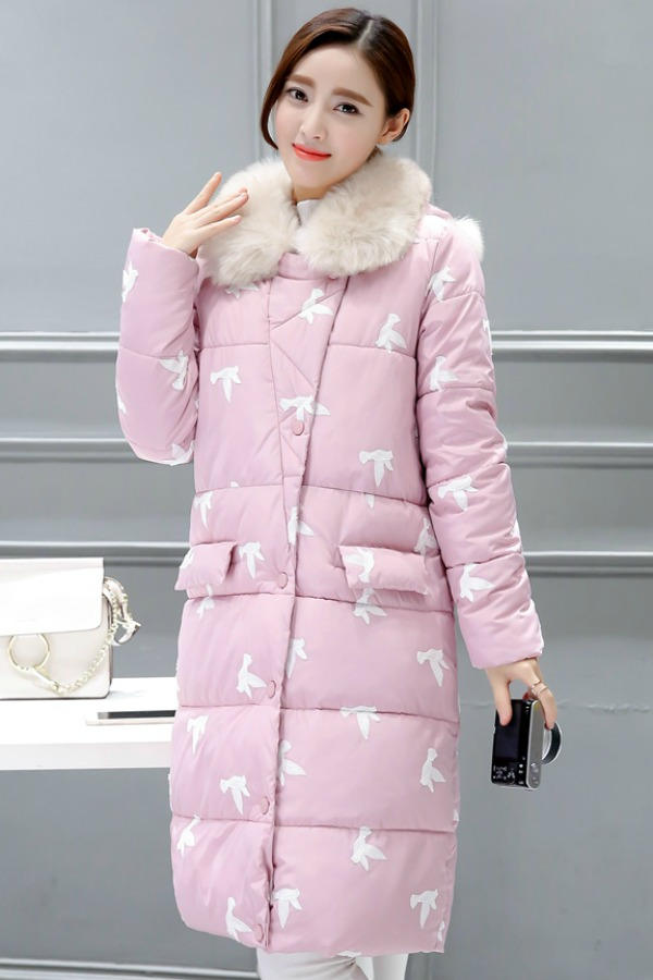 JAKET BULU WANITA - Pink Down Coat with Fur