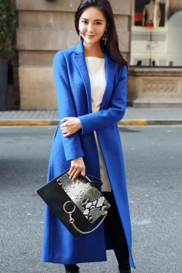 LONG COAT WANITA KOREA - BLUE WOOLEN COAT