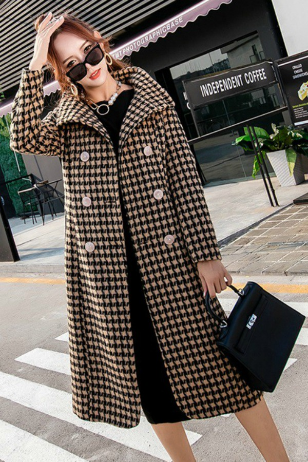 LONG COAT WANITA KOREA - Yellow Houndstooth Coat