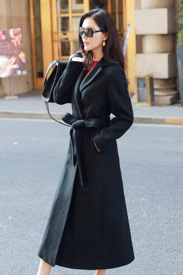 LONG COAT WANITA KOREA - BLACK WOOLEN COAT