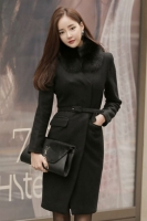 JAKET BULU WANITA KOREA - Black Fur Long Coat