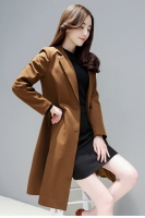 LONG COAT WANITA KOREA - Coffee Windbreaker