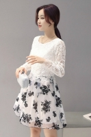 DRESS CANTIK KOREA - FAKE 2 PCS LACE DRESS