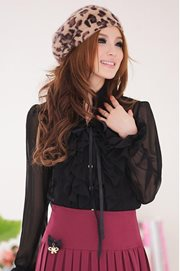 Black Feminine Blouse - BAJU IMPORT KOREA