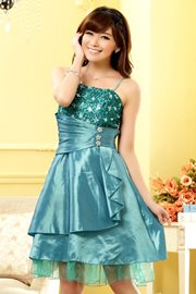 DRESS PESTA KOREA - Green Satin Party Dress