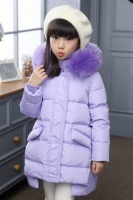 JAKET BULU ANAK - Fur Purple Down Coat for Children