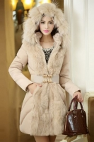 JAKET BULU MUSIM DINGIN - Beige Fur Down Coat