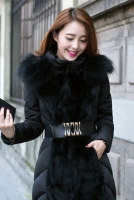JAKET BULU MUSIM DINGIN - Black Fur Down Coat