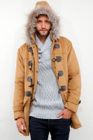 KHAKI DETACHABLE HOODED MEN COAT - Winter Long Coat
