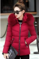 JAKET HOODIE BULU MUSIM DINGIN - LONG COAT IMPORT KOREA STYLE RED