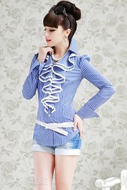 BLOUSE WANITA KOREA STYLE - Blue Stripped Ruffle