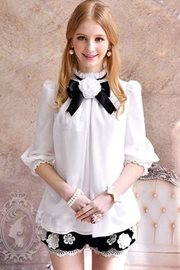 BAJU CHIFFON KOREA STYLE - Simple Elegant White Bl
