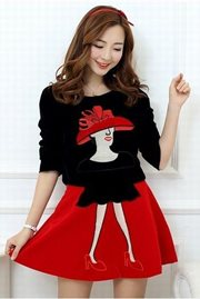 DRESS CANTIK KOREA - Black 2Pcs Dress