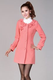COAT KOREA STYLE - Feminine Pink Korean Coat