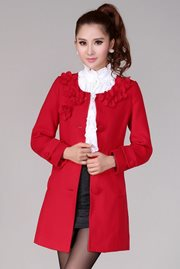 COAT KOREA STYLE - Feminine Red Korean Coat