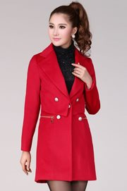 COAT KOREA STYLE - Red Korean Long Coat