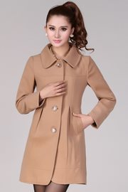 LONG COAT KOREA - LightTanCharming Woolen Coat