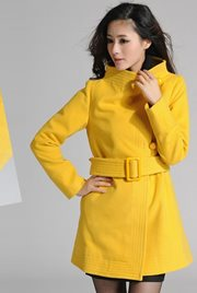LONG COAT KOREA - Yellow Woolen Coat