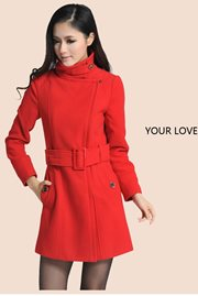 BAJU MUSIM DINGIN - Red Woolen Long Coat