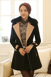 JAKET BULU - Black Elegant Winter Coat