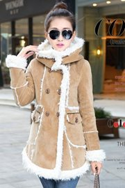 JAKET BULU - LightTan Fur Woolen Coat