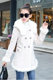JAKET BULU - White Fur Woolen Coat