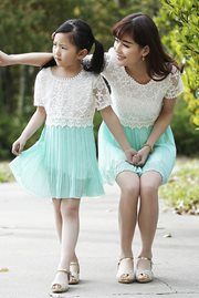 BAJU COUPLE IBU ANAK - Green Autumn Dress