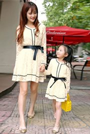 BAJU KOREA ONLINE - Apricot Set Mom n Girl Dress