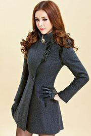 COAT WANITA KOREA - Gray Woolen Coat