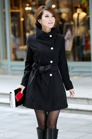 JAKET MUSIM DINGIN KOREA - Black Woman Long Coat