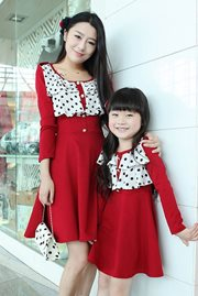 DRESS IBU DAN ANAK KOREA - Maroon Set Dress