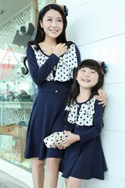 DRESS IBU DAN ANAK KOREA - Navy Set Dress