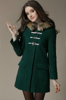 JAKET BULU IMPORT WANITA - Green Hoodie Fur Coat