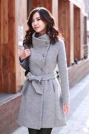 LONG COAT KOREA STYLE - Gray Woolen Coat