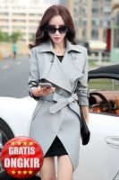 BLAZER WANITA KOREA - Gray Long Coat