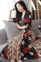 DRESS FLORAL WANITA KOREA - Red Chiffon Dress