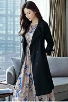 LONG COAT WANITA KOREA - Black Windbreaker Coat
