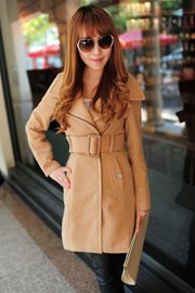 KOREAN COAT - Beige Cashmere Long Coat