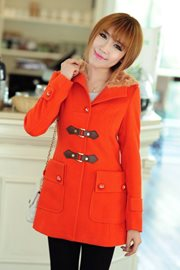 COAT MUSIM DINGIN - Orange Hoodie Coat