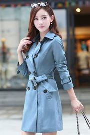 BLAZER WANITA KOREA - Blue Long Coat
