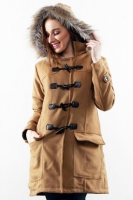 KHAKI DETACHABLE HOODED WOMEN COAT - Winter Long Coat