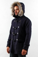 NAVY DETACHABLE HOODED MEN COAT - Winter Long Coat