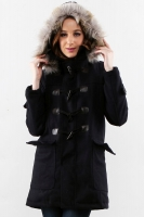 NAVY DETACHABLE HOODED WOMEN COAT - Winter Long Coat