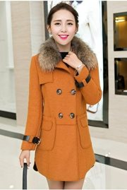 JAKET BULU WANITA - DarkYellow Long Coat
