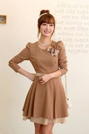 DRESS CANTIK KOREA - Long Sleeved Korean Dress