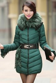 JAKET MUSIM DINGIN - Green Fur Padded Coat